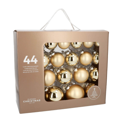 44 glass Christmas baubles light gold in storage box
