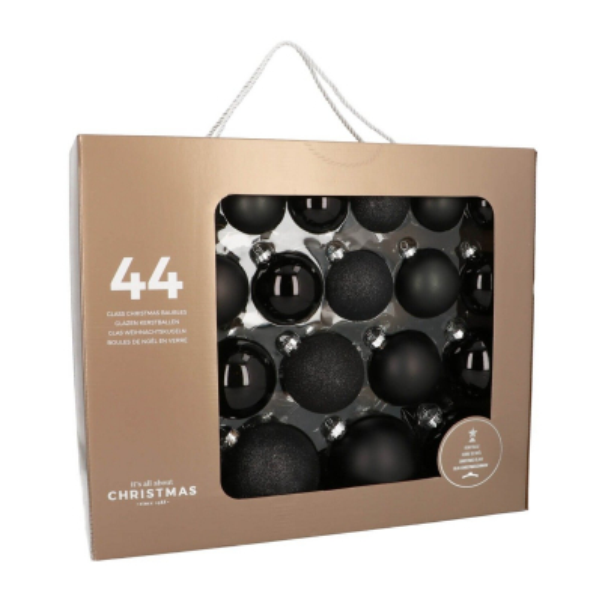 Box of 44 Black Glass Baubles, 6-10 cm