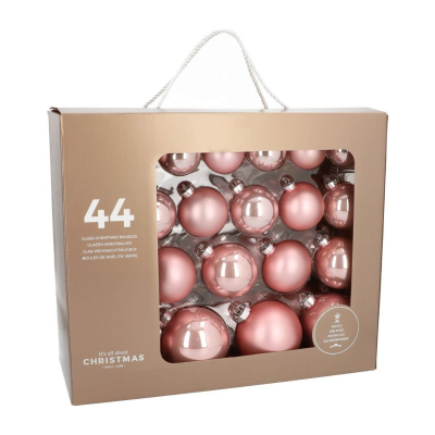 Box of 44 Pink Glass Baubles, 6-10 cm