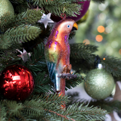 Parrot Glass Hanging Figurine 16.5cm Red