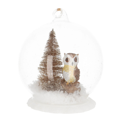Unique glass glass bell with owl 9 cm brown