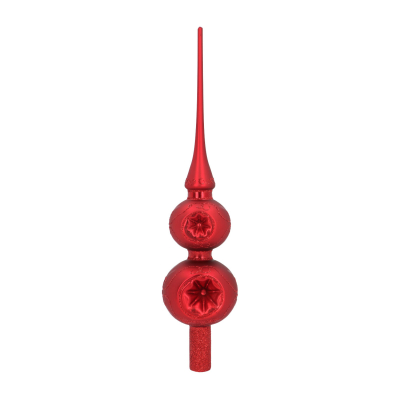 Glass Tree Topper with Reflectors 30cm Red