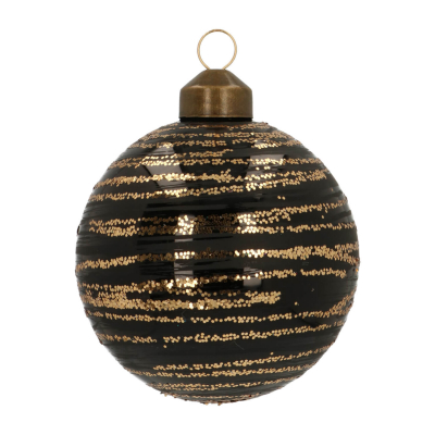 Elegant Glass Christmas Bauble with Fine Lines 8cm Black-Champagne