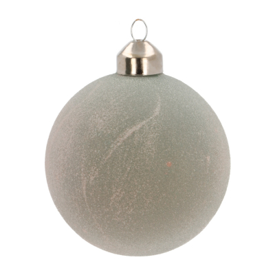 Unique Glass Christmas Bauble with Glitters 8cm Cottage Green