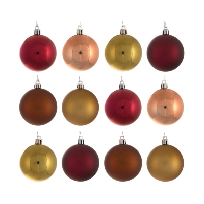27 shatterproof Christmas baubles traditional mix 5 cm