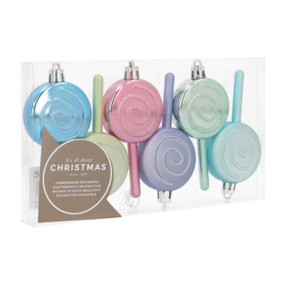 Set of Lollipop Christmas Ornaments 9cm Pastel Mix