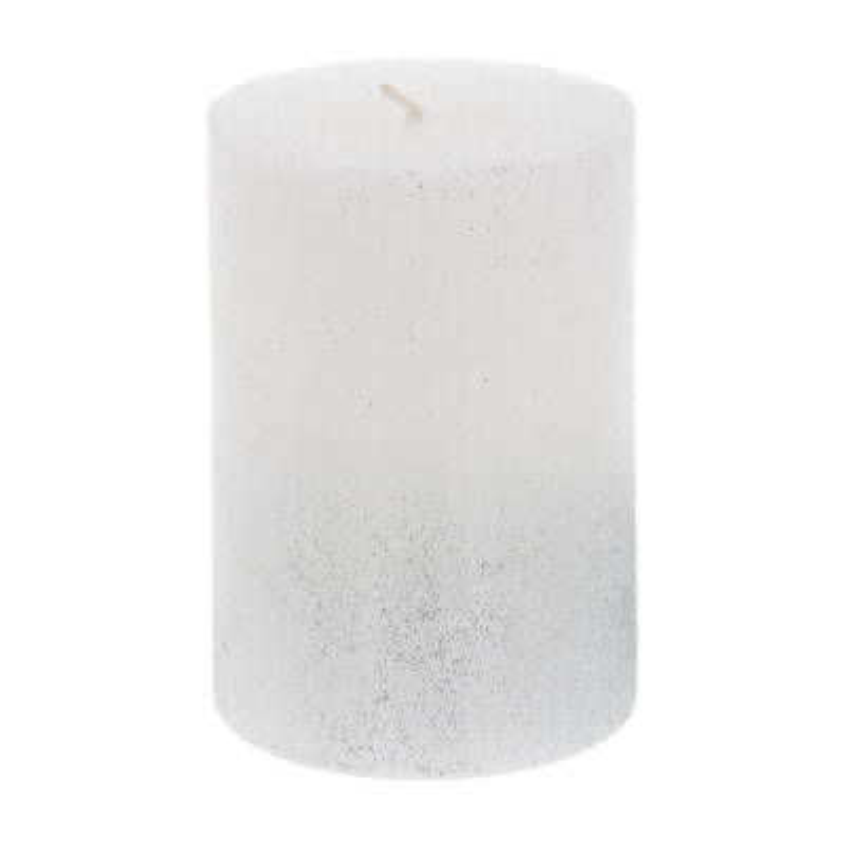 Pillar Candle Silver Glitter 10cm White