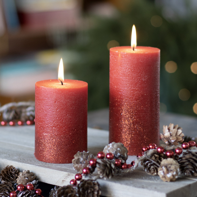 Pillar Candle red Glitter 10cm Christmas red