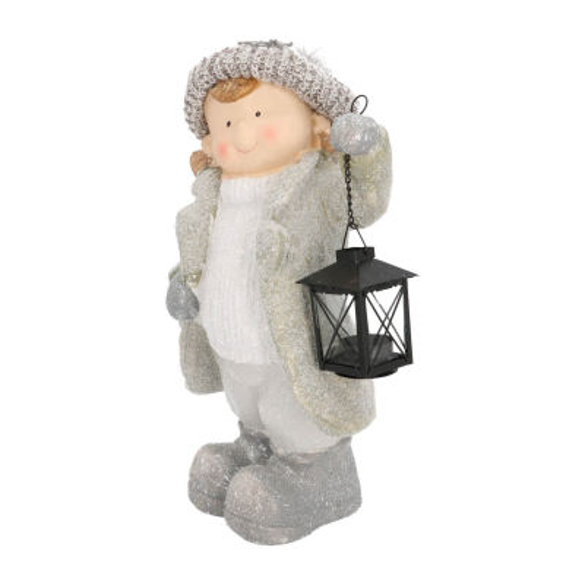 Girl with lantern magnesia 40,5cm grey