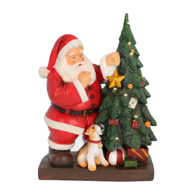 Santa with dog and Christmas tree 30cm LED polyresin
