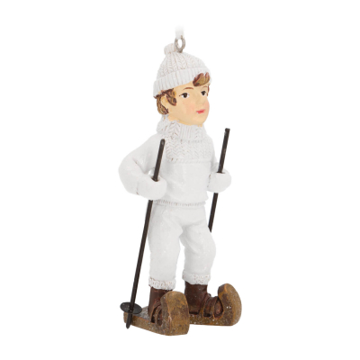 Unique hanger boy with ski 10cm white