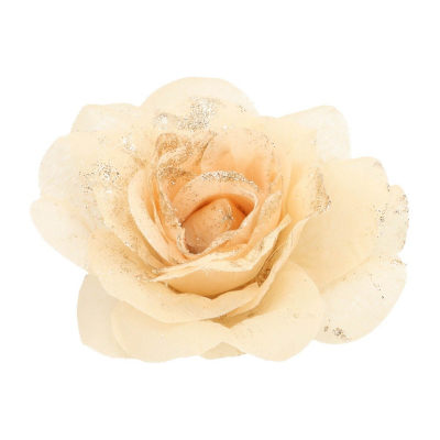Flower on clip taupe 12 cm