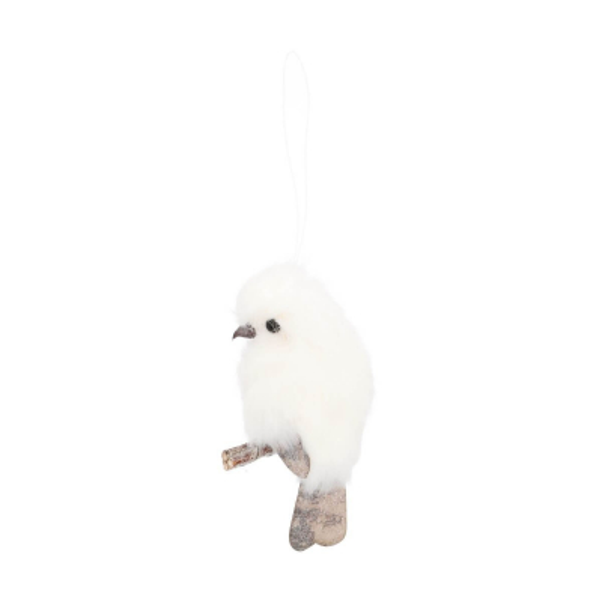Bird on hanger 12 cm white champagne