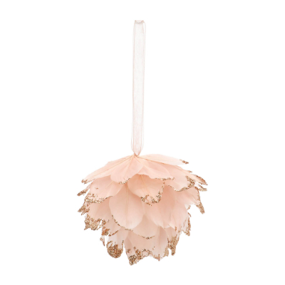 Feather Christmas Bauble 9cm Pink
