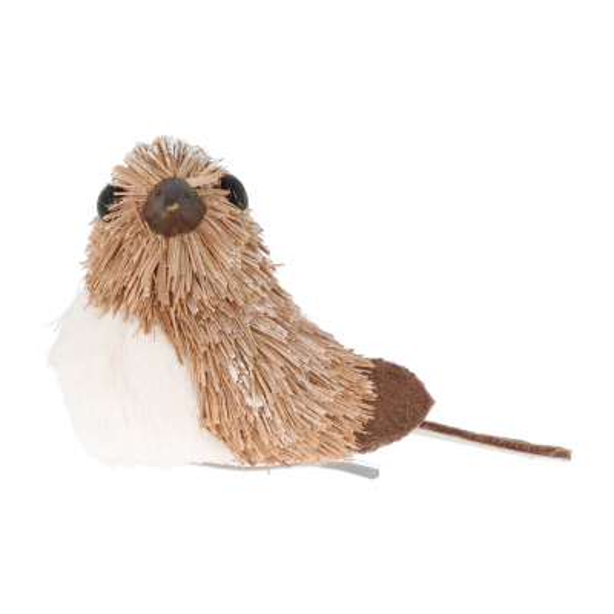 Bird on clip 10cm light brown