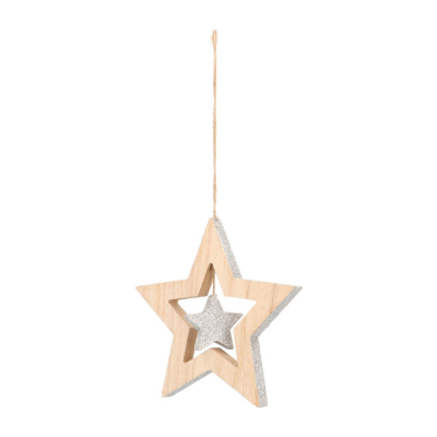 Wood star with star Christmas hanger 15cm silver