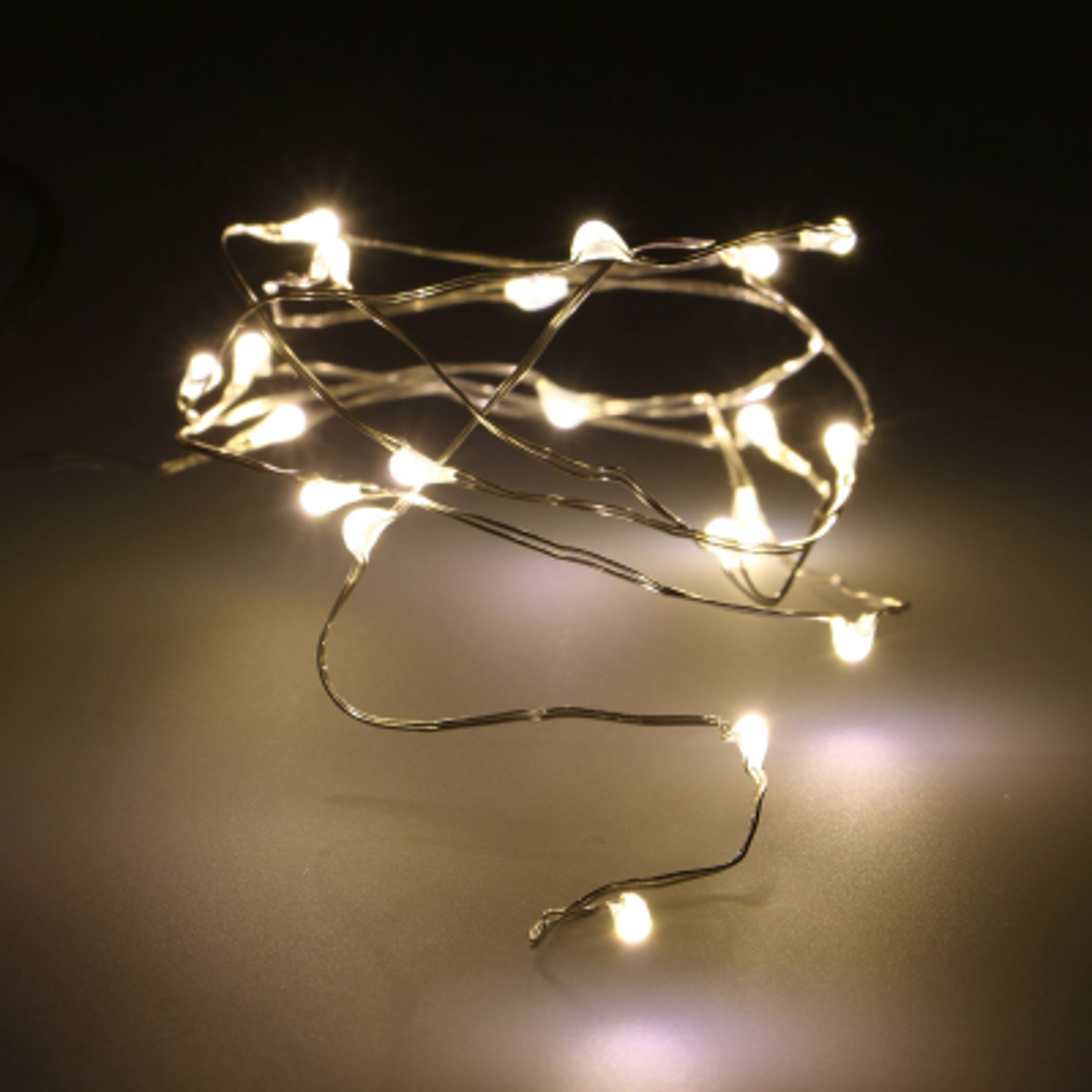 Batterijverlichting zilverdraad 1 m 20 LED warm wit