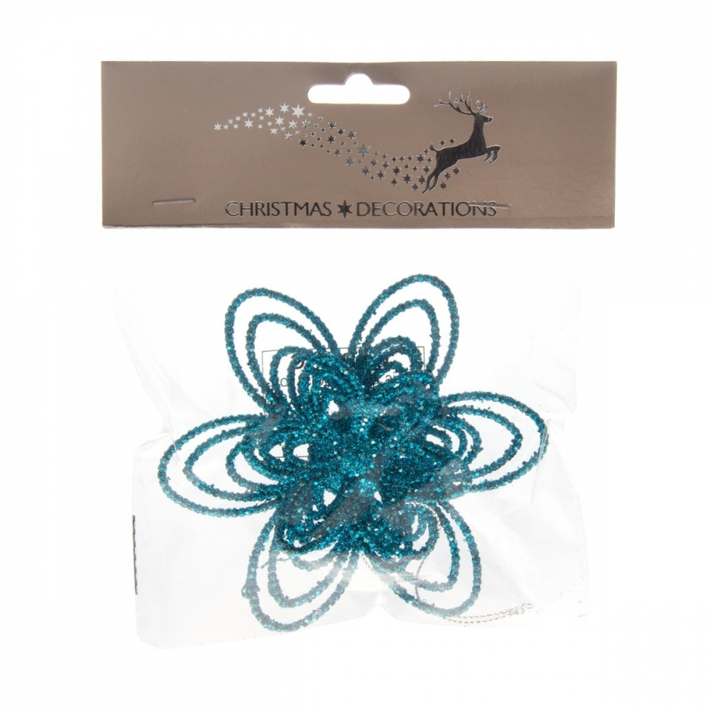 Christmas flower with glitter - Teal blue - 12cm
