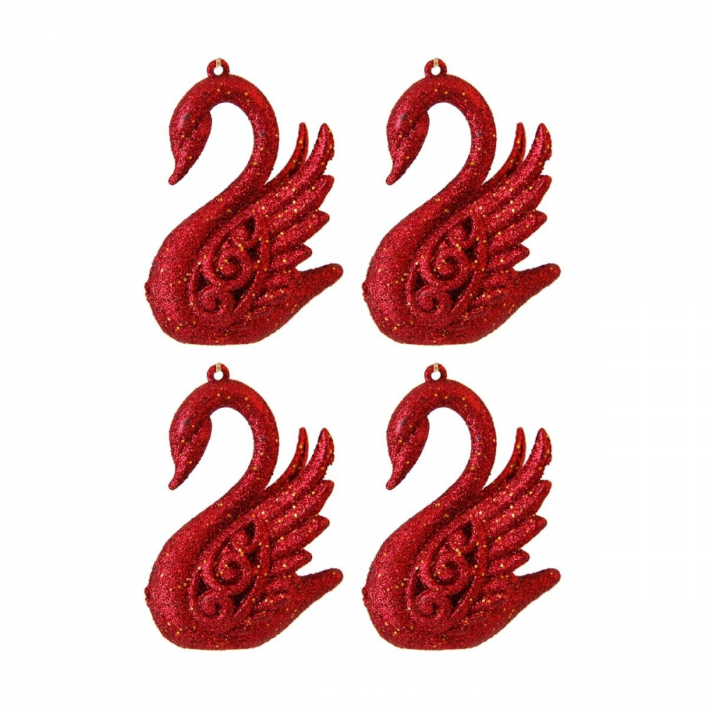 Glitter swans 15cm Christmas red 4 pieces