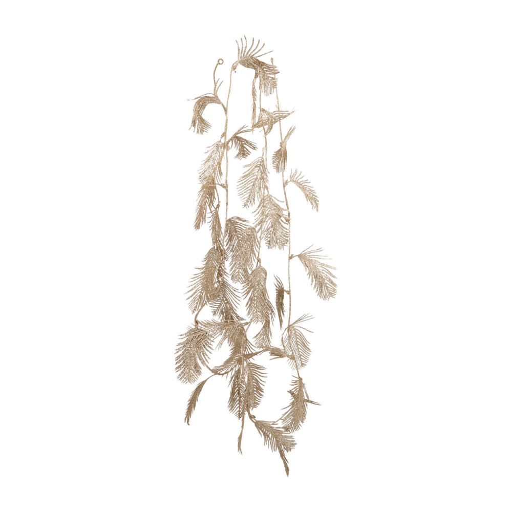 Glitter feathers garland 260cm champagne