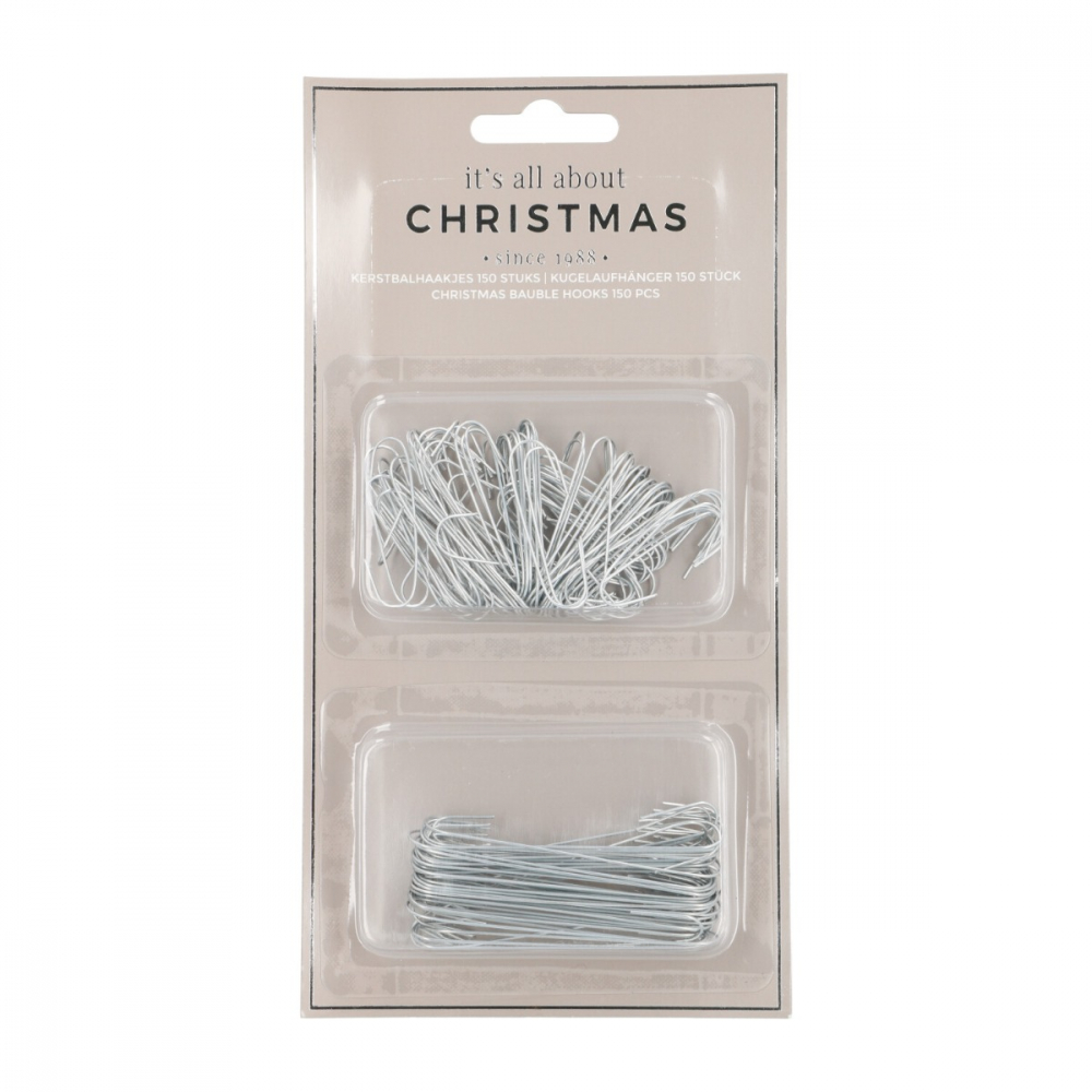 Christmas bauble hooks 150 pieces silver C-shape
