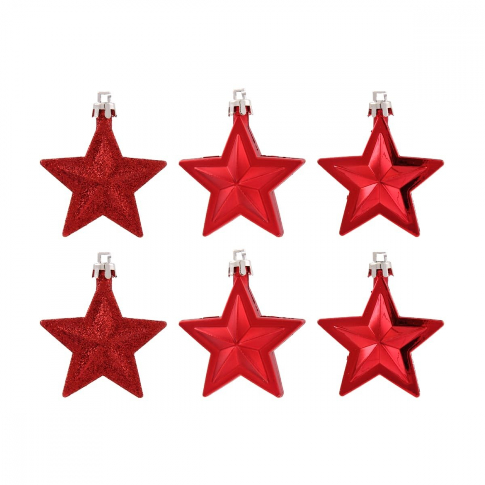 Shatterproof Christmas stars 6,5cm Christmas red 6 pieces