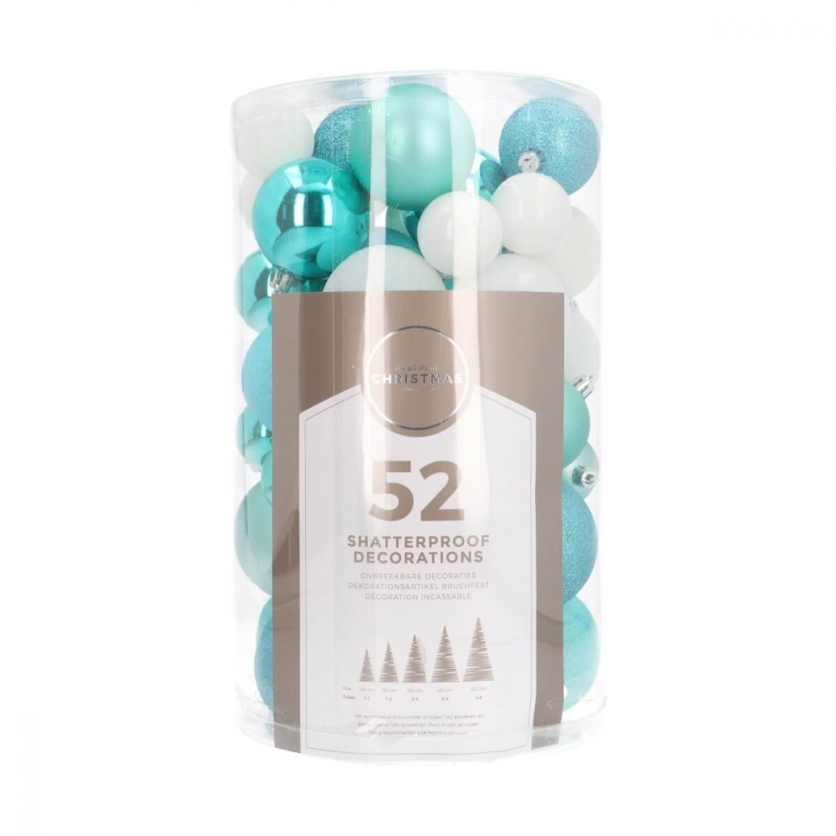 Set of 52 Frozen Mix Shatterproof Baubles, 4-7 cm