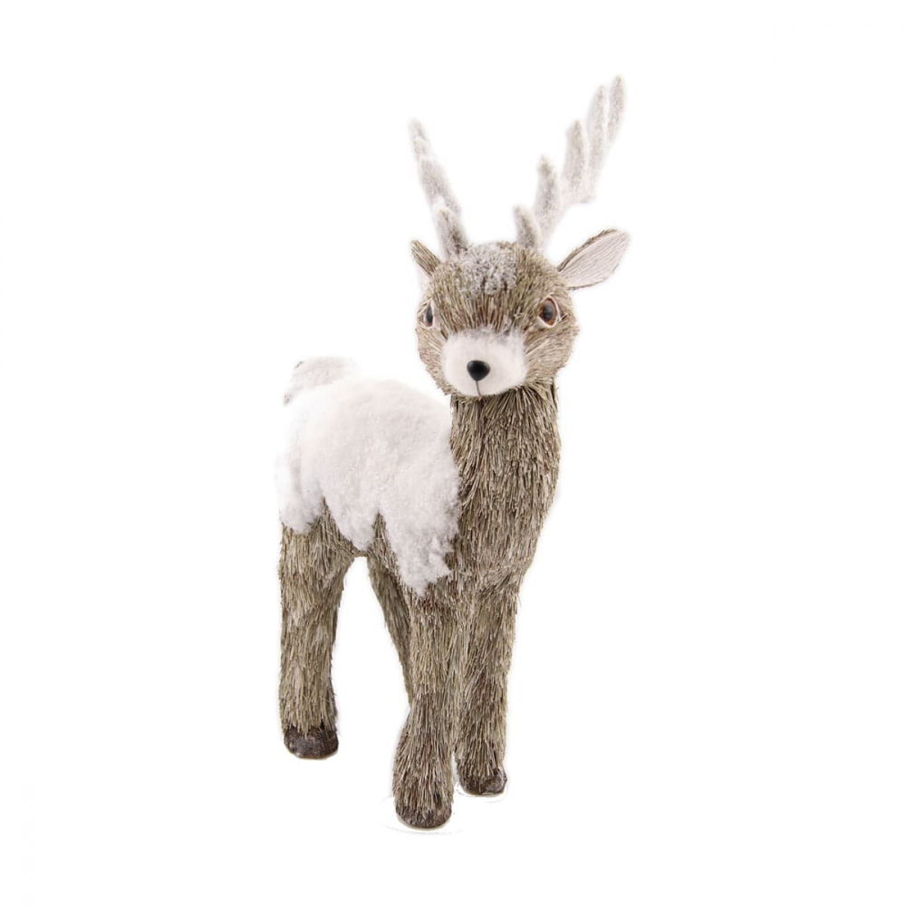 Reindeer with snow - White - 38cm
