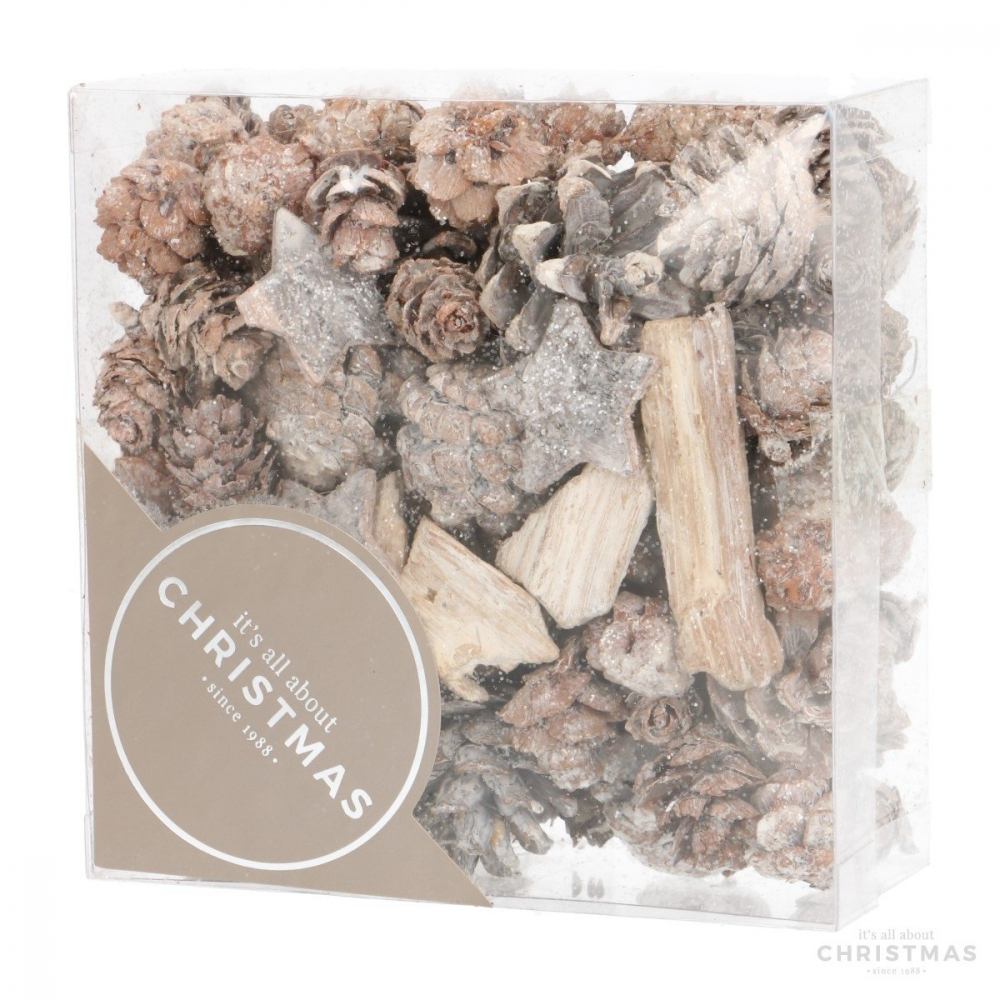 Natural decoration with stars - 200 grams - White