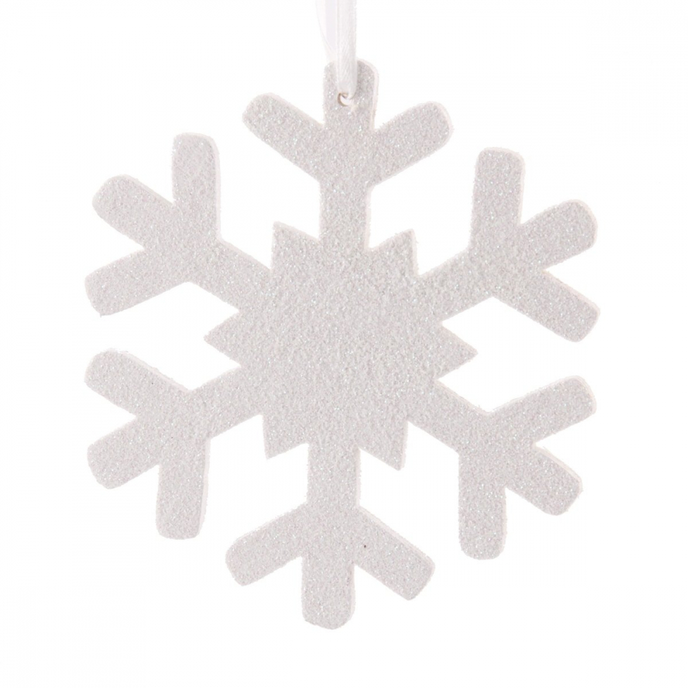 Snowflake with glitter 11cm white