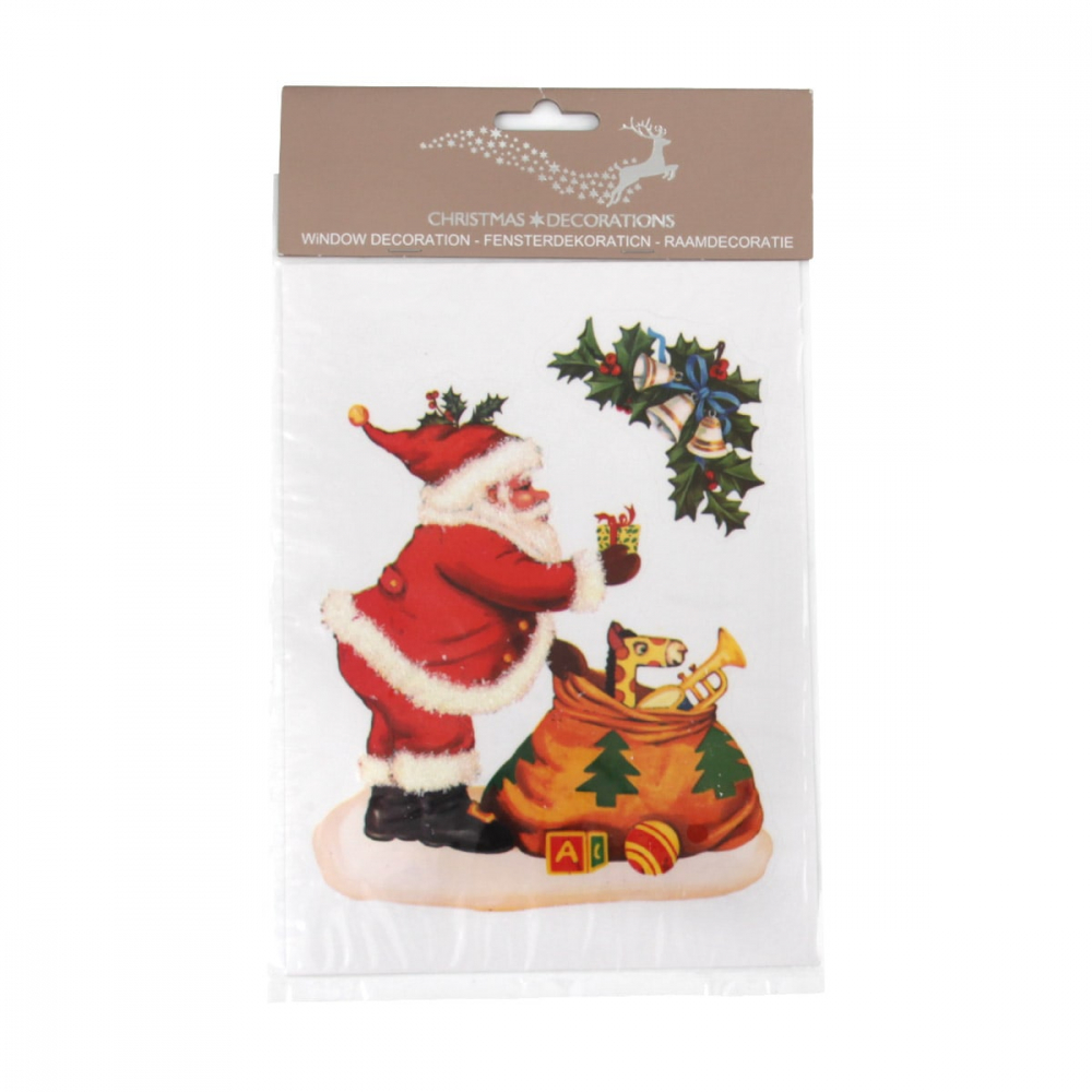 Window sticker Santa with bag 20x14,7cm in colour