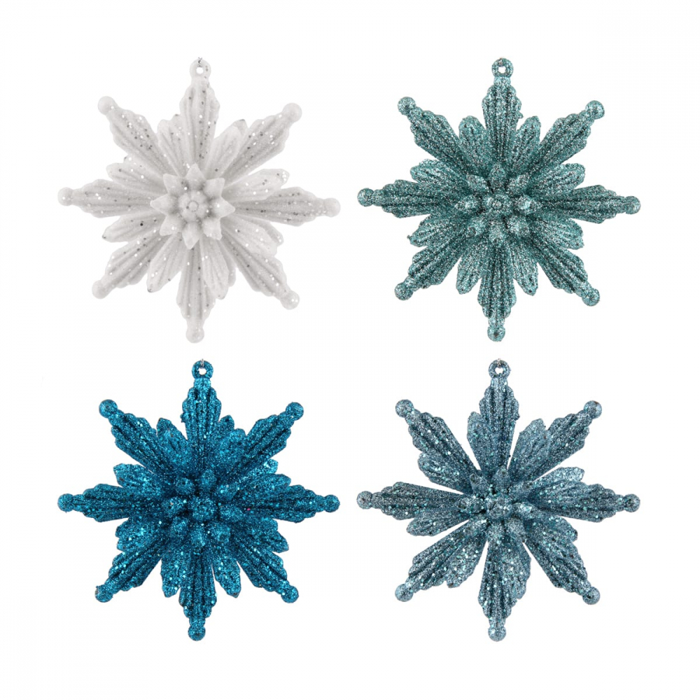 Glitter 3D snowflakes 11cm frozen mix 4 pieces