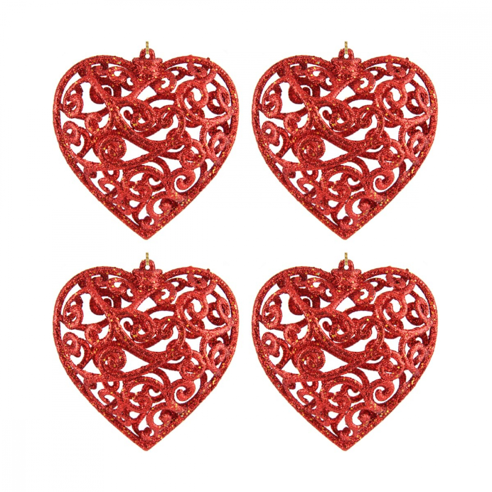 Glitter Christmas hearts 7,5cm Christmas red 4 pieces