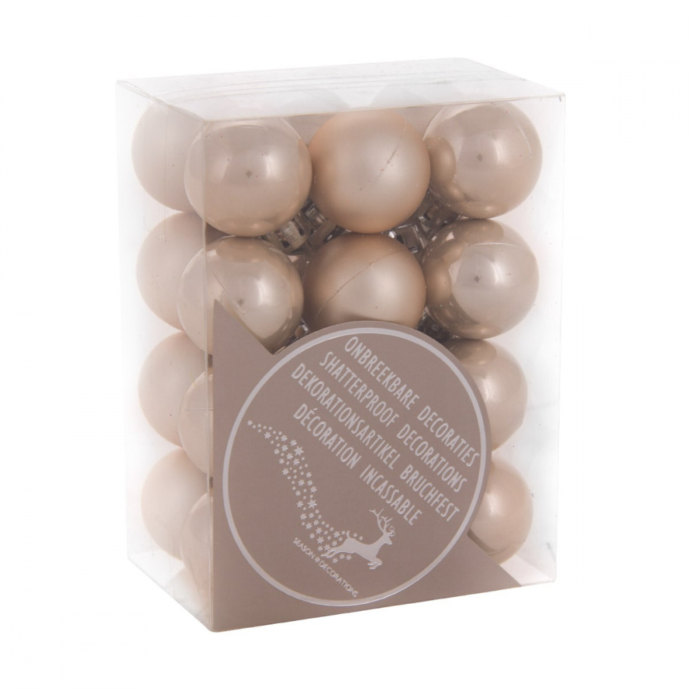24 shatterproof Christmas baubles champagne 2.5 cm