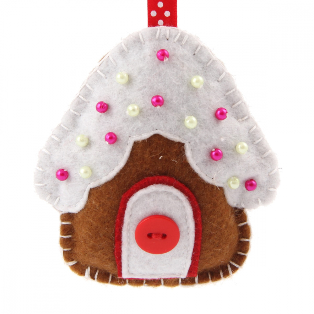 Gingerbread house 9cm brown/white