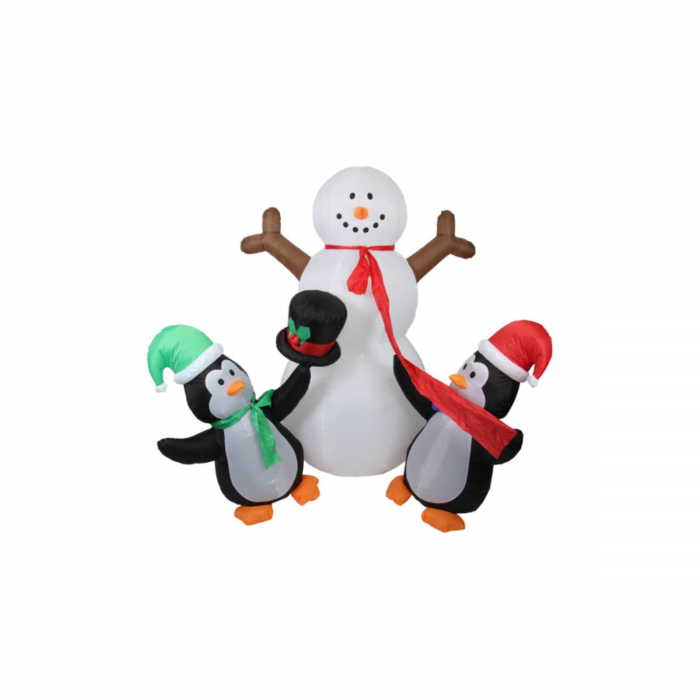 Inflatable snowman with penguins 180cm with LED